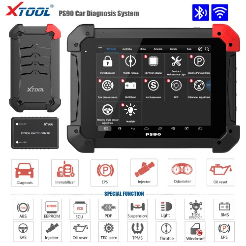 XTOOL PS90 Pro Gasoline Cars and Diesel Truck 2 in 1 OBDII Diagnostic Tool for Oil Reset/EPB/BMS/SAS/DPF/TPMS Relearn and IMMO