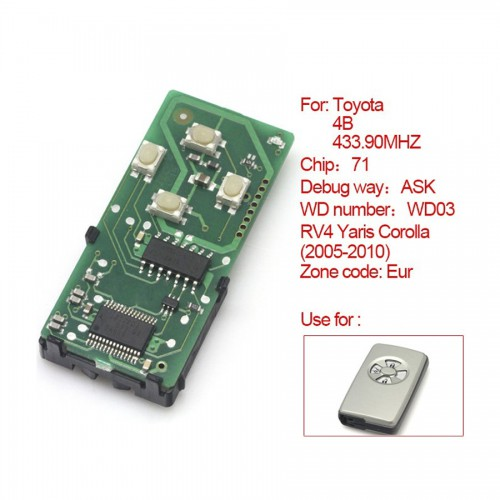 for Toyota smart card board 4 buttons 433.92MHZ number :271451-0111-Eur