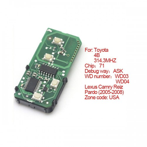 Toyota Smart Card Board 4 Key 314.3 MHZ Number 271451-0140-USA