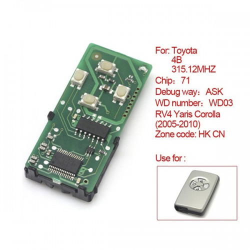 Toyota Smart Card Board 4 Buttons 315.12MHZ Number :271451-0111-HK-CN