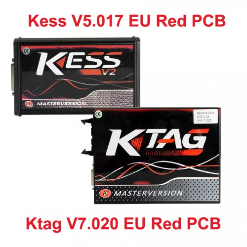 Kess V5.017 Red PCB EU Version Plus Ktag V7.020 with GPT Cable Online Version Full Protocols Activated