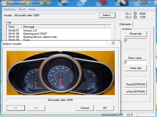 mazda obd2 odometer correct cable software display