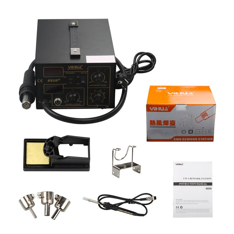 2 in1 SMD Soldering Rework Station Hot Air & Iron 852D+ 5Tips ESD PLCC BGA