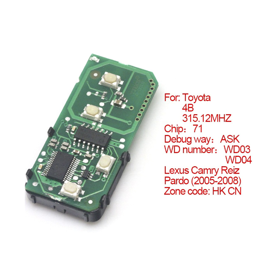 for Toyota smart card board 4 buttons 315.12MHZ number :271451-0140-HK-CN