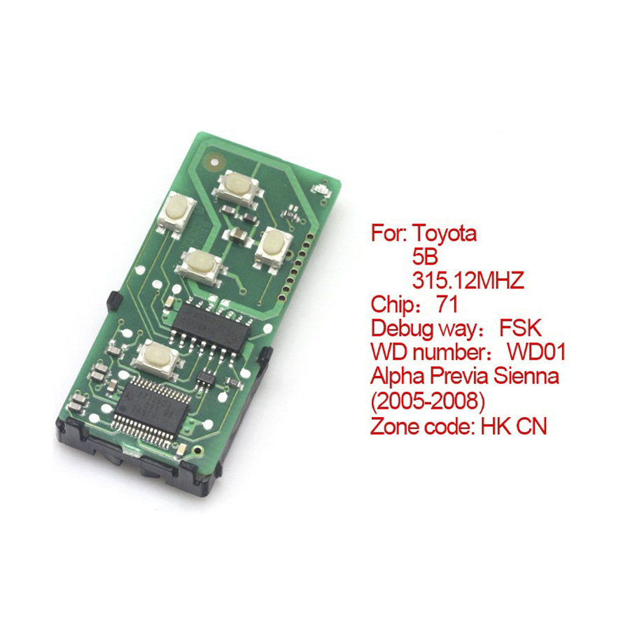 for Toyota smart card board 4 buttons 315.12MHZ number :271451-6221-HK-CN