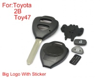 Remote key shell 2buttons TOY47 big logo with paper for Toyota Corolla 5pc/Lot