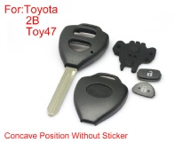 Remote key shell 2buttons TOY47 with Concave without paper for Toyota Corolla