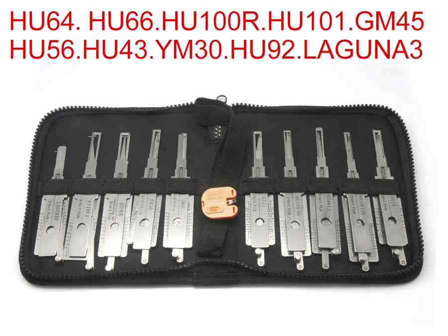 Auto 2 in 1 decoder and lock picks European car models 10pcs of one pack use for HU64 HU66 HU100R