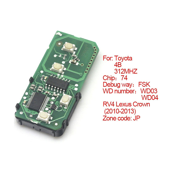 Toyota Smart Card Board 4 Key 312MHZ Number 271451-5290-JP
