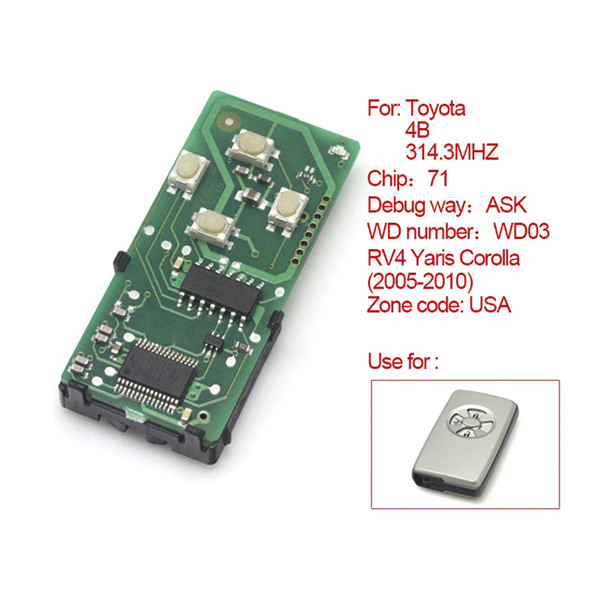 Toyota Smart Card Board 4 Key 314 Frequency Number 0111-USA