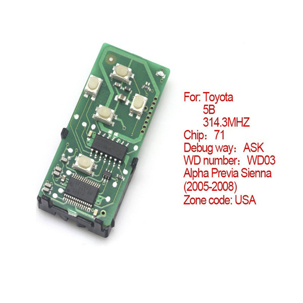 Toyota Smart Card Board 5 Buttons 314.3 MHZ Number 271451-0780-USA