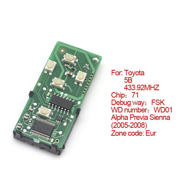 Toyota Smart Card Board 5 Buttons 433.92MHZ Number 271451-6221-Eur