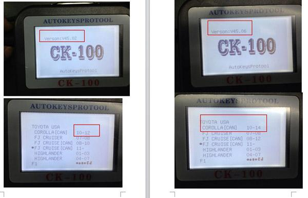 CK-100 V45.06 Compared with CK-100 V45.02 1