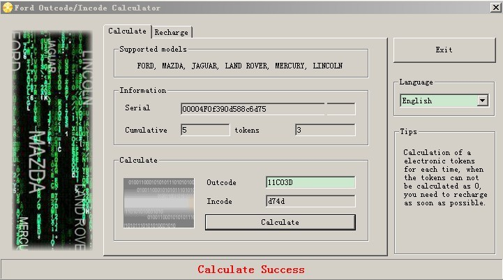 Ford Incode Calculator Software Display 01