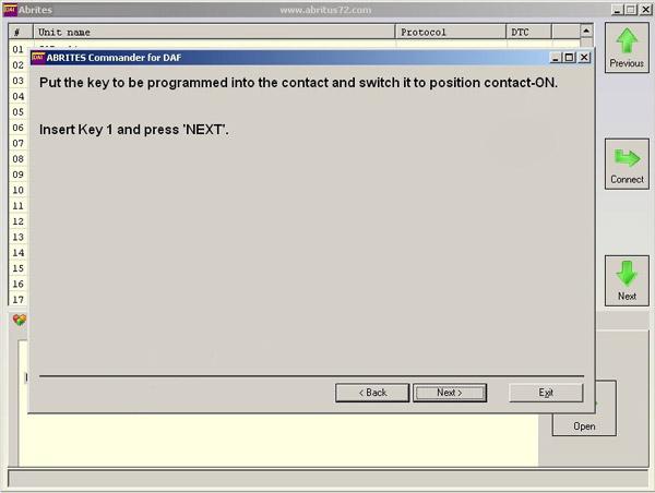 FVDI DAF Key Learning Function Display 3
