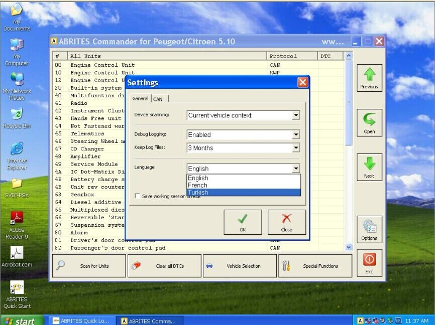 SVDI PSA ABRITES Commander Software Display