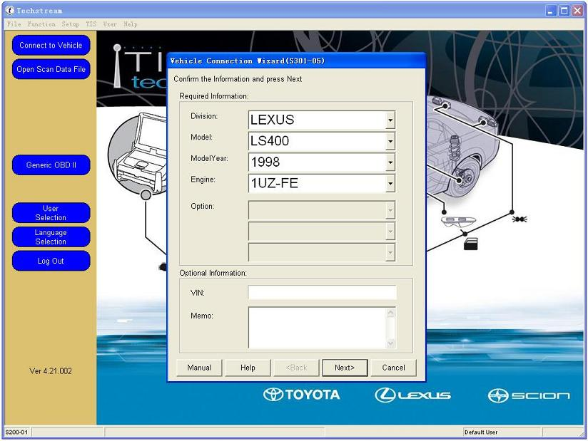 Toyota TIS OBD2 Diagnostic Software Display