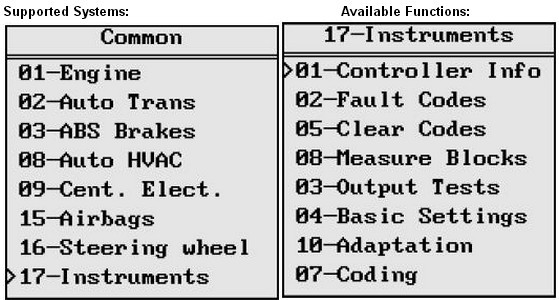 VAG401 supoort system functions list