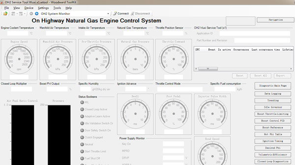 ECONTROLS & WOODWARD Diagnostic Software Display & Natural Gas Engine Test Cable Connect