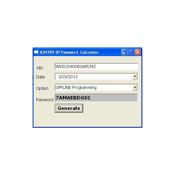 Software Display of Xentry Special Password Keygen Function Key Service