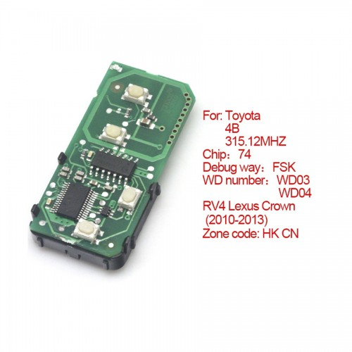 Toyota smart card board 4 buttons 315.12MHZ number :271451-5290-Eur