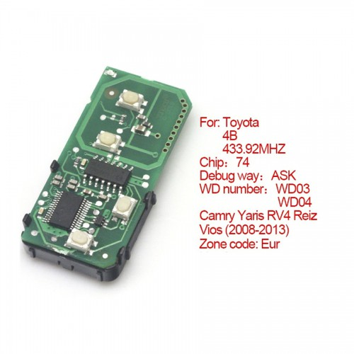 Toyota smart card board 4 buttons 433.92MHZ number :271451-3370-Eur