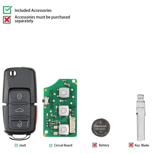 XHORSE XKB509EN Wired Universal Remote Key B5 Style Flip 3+1 Buttons for VVDI Key Tool English Version 5pcs
