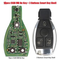 [UK Ship]10pcs Original CGDI MB Be Key with Smart Key Shell 3 Button for Mercedes Benz